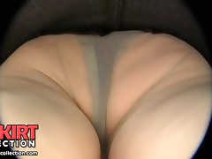 The chubby female is getting her big cellulites ass in panty and hose voyeured upskirt